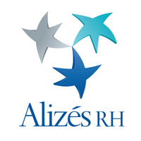 """Logo Alizés Rh qui représente 3 étoiles de couleur avec le texte """"Alizés RH"""" en dessous"""